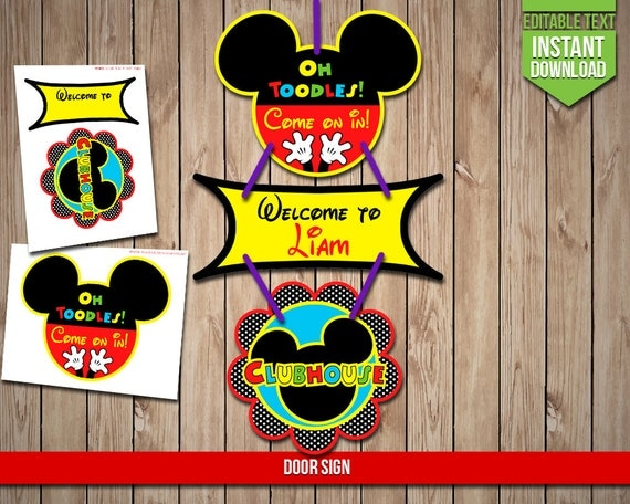 DISNEY CLUBHOUSE Door Sign Mickey Mouse Banner Sign