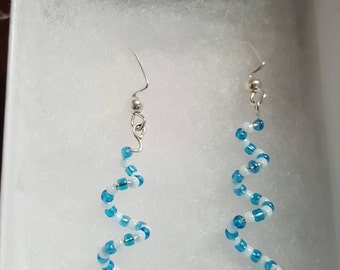 Beautiful Blue Spiral Handmade Beaded Earrings. Great for everyday use, holiday jewelry or any special occasion!!