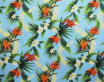 Birds of Paradise sky Hawaii hawaiian fabric fabric flowers beach surf beach aloha flowers tiki cotton fabric flowers honolulu