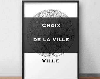 Display map custom city Minimalist Map - City map, city Poster, wall Decoration, city map