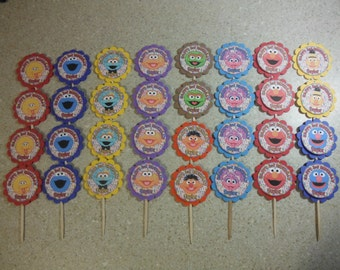 32 SESAME STREET Cupcake Toppers PERSONALIZED - Picks Party Favors