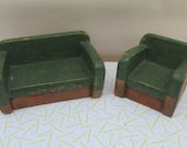 Vintage 1950s Forest Green Wooden Dolls House Furniture  Sofa and Armchair  Art Deco Style