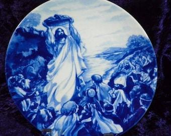 "Avon ""Jesus Feeds The Multitude"" Cobalt Blue Decorator Collector Plate"