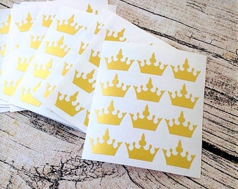 48 Gold crown stickers, Gold crown mini decals, Gold crown envelope seals, for packaging, gift wrapping or wedding invitations