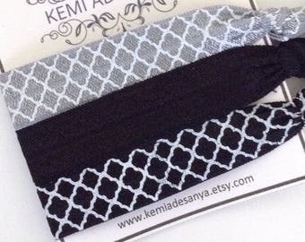 Black and Grey Elastic Hair Ties - Quatrefoil Hair Ties, Bachelorette Party Favors, To Have and To Hold, Gift for Her, Ponytail Holder