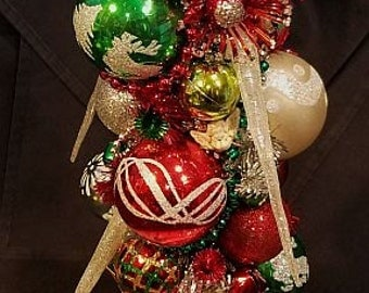 Vintage Christmas Santa Ceramic Bottlebrush Tree