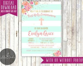 Communion Invitation, Baptism Invitation, Christening Invite, Floral, Elegant, Photo - Printable DIY