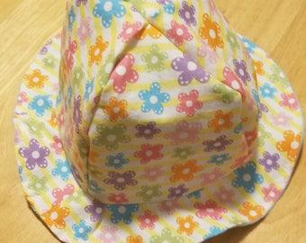 Girls sun hat/ toddlers sun hat/ beach hat/child's sun hat/hair accessory/girls sun bonnet/flowerd sun hat/ blue sun hat/ reversible sun hat