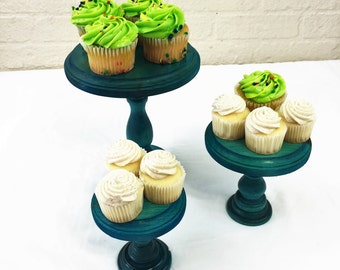 Set of 3 Turquoise Cupcake Stands Display Risers
