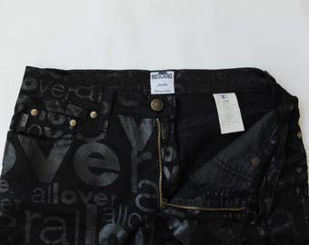 Vintage MOSCHINO black jeans with Allover print, high waisted, pants size 30