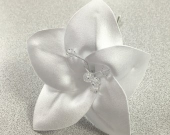 White Fabric Flower Bobby Pin with Crystal Center