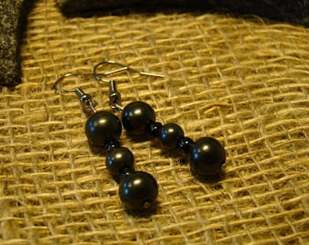 Shungite earrings from beads of Karelia.