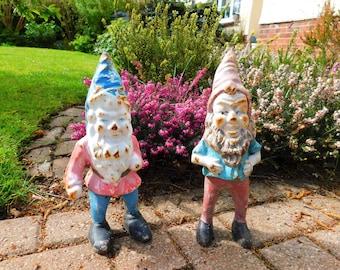2 Antique Vintage Gnomes Doorstops Figural Heavy Cast Iron Ornaments Home Decor Shop Decor Farm Decor Garden Decor