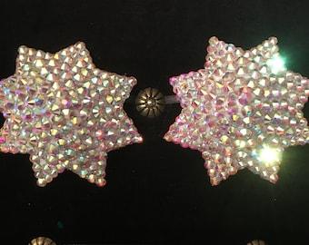 Starburst Crystal AB Rhinestone Burlesque Pasties