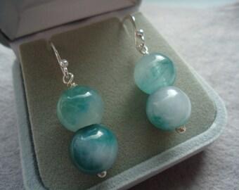 Jade Silver Drop Earrings Handmade