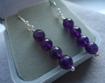 Amethyst Faceted Sterling Silver Earrings Handmade