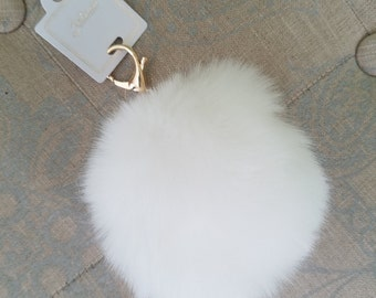 White Faux Fur-ball Key Chain