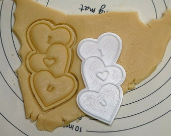 I Love You on Three Hearts Cookie Cutter and Stamp