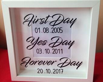 Box frame/wedding gift/first dates/wedding day/brideandgroom