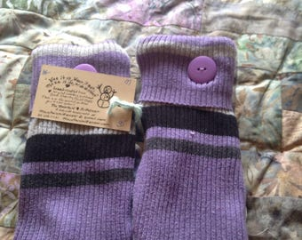 PANCAN Purple striped fundraiser mittens