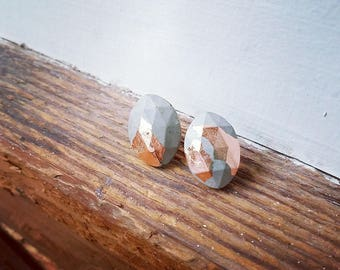 concrete/metal leaf earrings 3