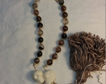 Medieval Style Brown Banded Agate and Skulls Paternoster Prayer Beads