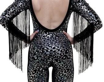 Black Velvet Leopard Print Fringed Catsuit