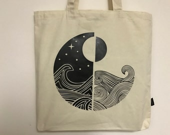 Ocean Waves Day vs Night Tote bag - Canvas Tote Bags - Rad Vibes