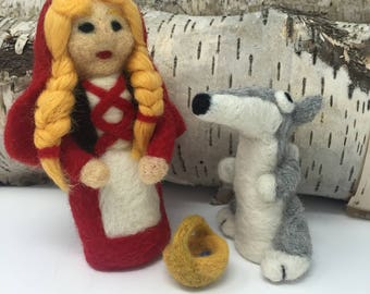 Needle Felt Little Red Riding Hood and the Wolf