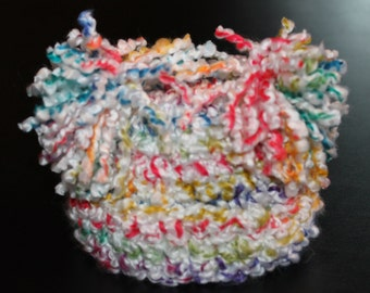Crochet Newborn Baby Hat in White Bright Colors with Pom Pom Detailing Photo Prop Infant Baby Hat
