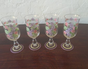 Hand Painted Vintage Wine Glasses (Set of 4)