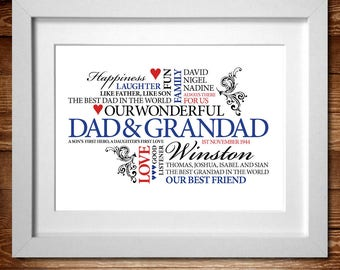 Our Wonderful Dad & Grandad – Word Art Personalised print* A4 , A3 or Digital PDF