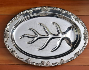 Vintage Alvin Silver Carving Tray, Footed Meat Tray, Meat Platter, Carving Platter, Silver Serving Platter