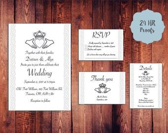 Celtic Claddagh Wedding Invitation Set