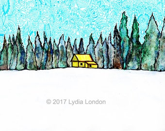 Cabin in the Forest Letter Size Digital Print, forest, woods, canada, landscape, wall art, illustration, pattern, decorative, winter, snow