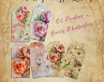 Printable Tags / Labels . Roses Vintage.  Oil painting with flowers and butterflies. Digital Collage Sheet. Instant download.