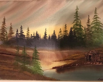 Cabin on a Lake - Oil Painting