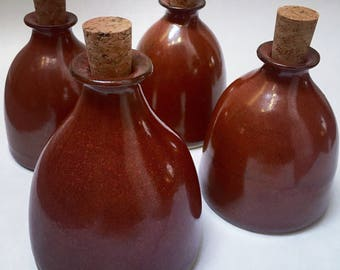 Handmade stoneware corked ceramic bottle