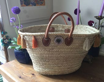 Large shopping  French basket with short leather handles