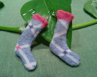 Earrings socks, socks for ears, earrings at the bottom, small low miniature
