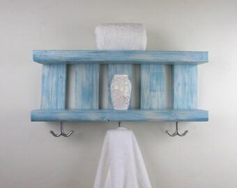 Wood Shelves With Hooks Underneath–Coastal Decor Open Shelves–Bathroom Chunky Wall Shelves–Nautical Reclaimed Wood Shelves–2 Tier Wall Shelf