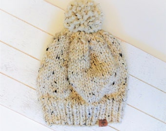 Chunky Knit Toque, Pom Pom Beanie, Wool Knit Hat, Baby, Toddler, Child, Adult