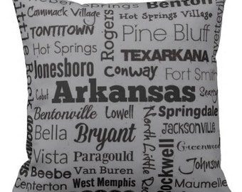 Arkansas cities pillow - AR typography throw pillow - red or gray decorative pillow - Ark. home decor - gift - cushion