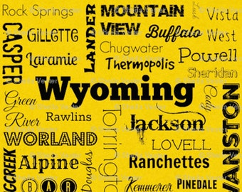 Wyoming Cities fabric - Fat Quarter - yellow and black - grey and black