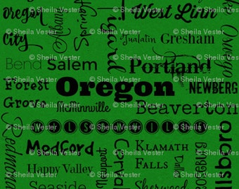 Oregon Cities fabric - by the yard - green and black - gray and black