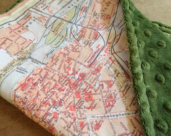 PRAGUE map blanket - Czech Republic baby minky security blankie - small travel blanky, lovie, lovey, woobie - 14 by 16 inches