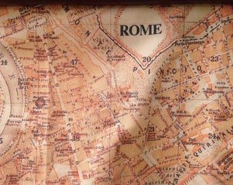 ROME map blanket - antique Italian map baby minky security blankie - small travel blanky, lovie, lovey, woobie - 11 by 16 inches