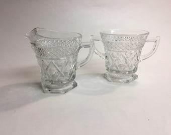 Imperial Glass Co CAPE COD Sugar and Creamer Set | Mid Century Glass | Clear Pressed Glass | Cut Glass | Vintage Creamer and Sugar