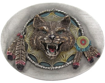 Grey Lone Wolf Dream Catcher Native American Feathers 1994 Bergamot Belt Buckle