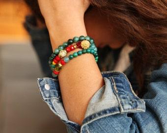 Bracelets Set, Gemstone Stretch Bracelet, red Bracelet, Beaded Stacking Bracelet ,  Elastic Bracelet, Boho Bracelet Set, LIGHT blue Bracelet
